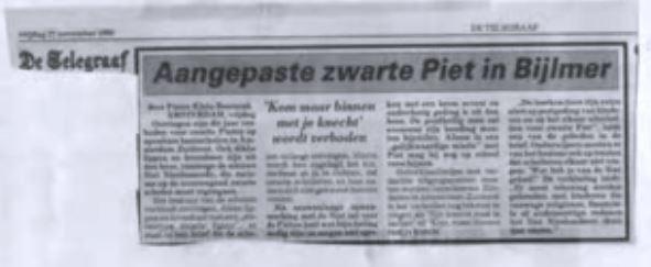 Zp is Zwart Verdriet, aangepaste Piet in Bijlmer